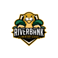 Riverbank Elementary School logo with shield and river otter