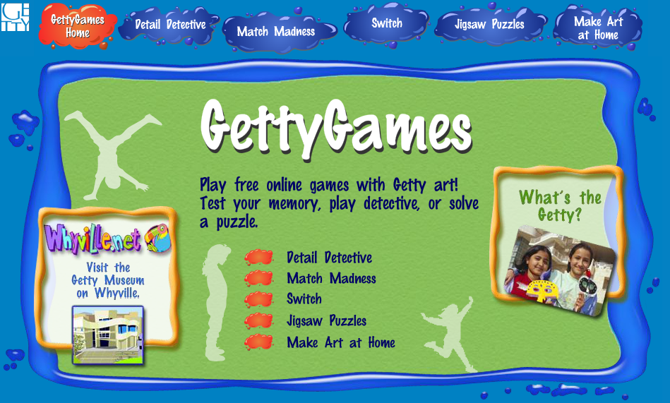 Getty Games Play free online games with Getty art! Test your memory, play detective, or solve a puzzle.